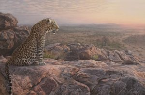 A Leopard's World original acrylic painting by Clinton Jammer Canadian Wildlife Artist